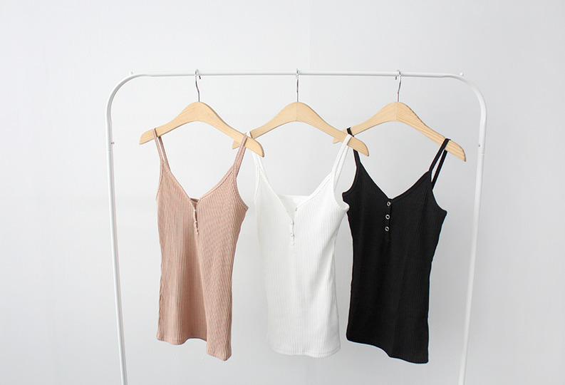 [자체제작] made button sleeveless (3colors!)  [ ivory, beige 당일발송 ]