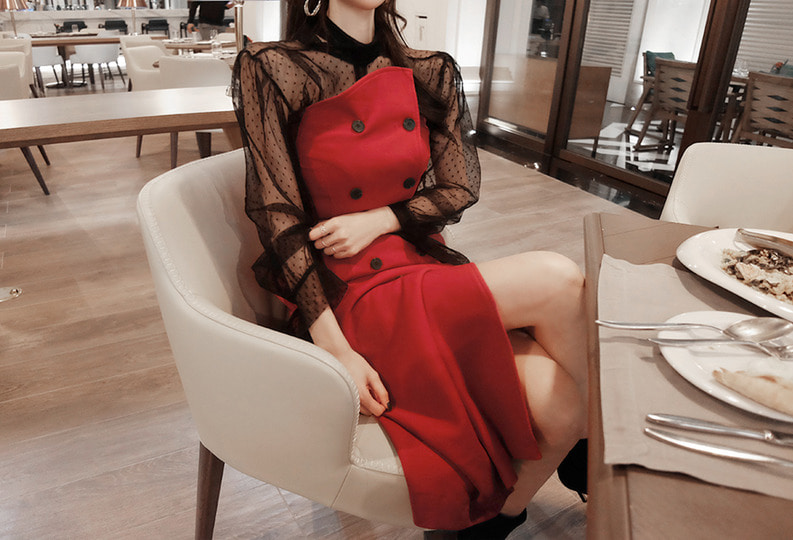 [자체제작] holiday belt dress (2colors!)  [ 당일발송 ]