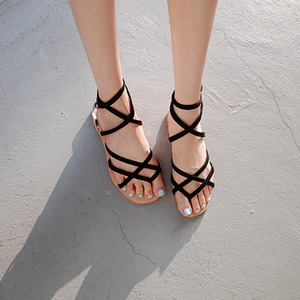 cross strap sandals (black, beige, pink)