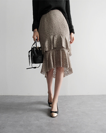 tiered lace skirt (2colors!)  [ khaki S, black M 당일발송 ]