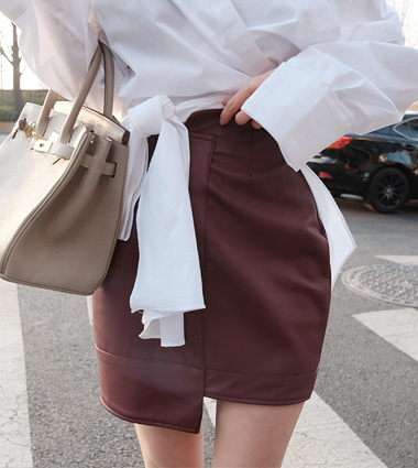 *pitch leather skirt (3colors!)   [wine,s]